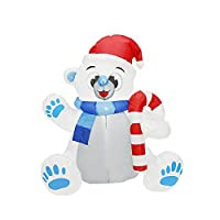 DNAN 1.2M Inflatable Christmas Walking Stick Bear Inflatable Model, with LED Holiday Decorations Garden Layout Party Toys