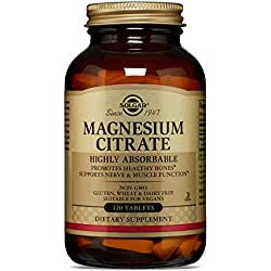 Solgar® Citrato de Magnesio, 120 Comprimidos - Función muscular y reducción de la fatiga. Apto para veganos
