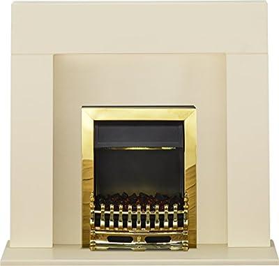 Adam Miami Fireplace Suite in Cream with Blenheim Electric Fire in Brass, 48 Inch