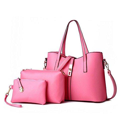 Toopot Sacchetto di cuoio del sacchetto di cuoio dell'unità di elaborazione delle donne di modo + sacchetto di spalla + borsa + 3pcs Rosa