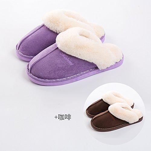 DogHaccd pantofole,Il cotone pantofole donne eleganti fondo spesso giovane inverno caldo al coperto le donne in stato di gravidanza non - slip home uomini semplici scarpe home Viola + caffè