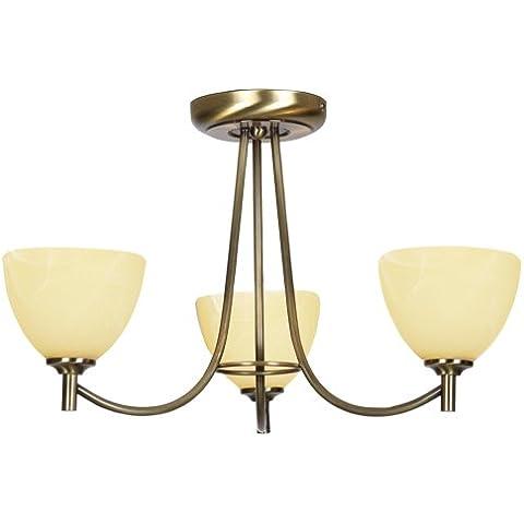 Oaks Lighting 1178/3 AB Hamburg - Lámpara de techo (3 bombillas G9, 29 x 48cm), color latón mate