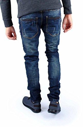 FiveSix Herren Slim-Fit Used-Look Denim Destroyed-Look Regular-Fit Biker Zerrissen Jeans Hose Blau-3