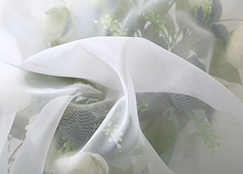 WOLTU VH5515ws Gardine Vorhang transparent mit 50mm KRÄUSELBAND Stores Schal Fensterschal Dekoschal Voile 140×225 cm Weiß - 5