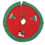 Qiusa Christbaumschmuck, 90cm Durchmesser Roter Baum Kleid + Vlies Applikation Baum Rock + Crafts Gifts Dekorationen