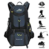 50L Hiking Backpack Waterproof Backpacking Outdoor Sport Daypack for Climbing Mountaineering Camping Fishing Travel Cycling Skiing(Dark blue)