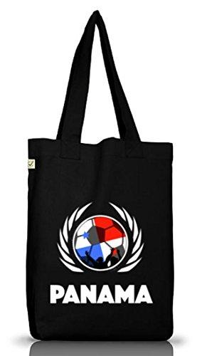 Wappen Fussball WM Fanfest Gruppen Jutebeutel Stoffbeutel Earth Positive Fußball Panama Black