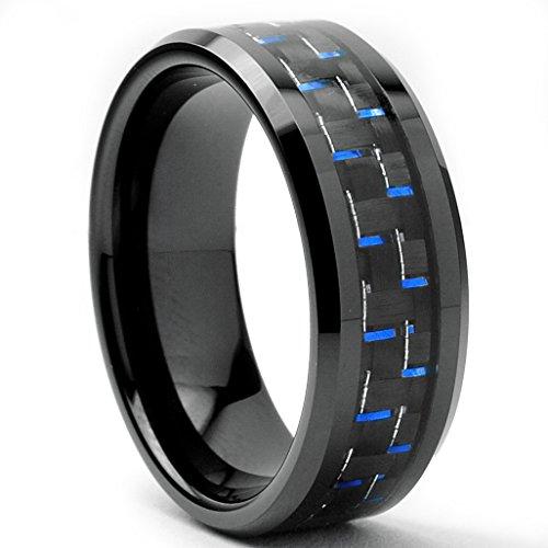 Ultimate metals® anello di fidanzamento in tungsteno da uomo - fede nuziale in tungsteno con fibra di carbonio nero e blu