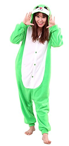 URVIP Jumpsuit Tier Cartoon Fasching Halloween Kostüm Sleepsuit Cosplay Fleece-Overall Pyjama Erwachsene Unisex Schlafanzug Tier Onesie mit Kapuze Grün Hase Medium