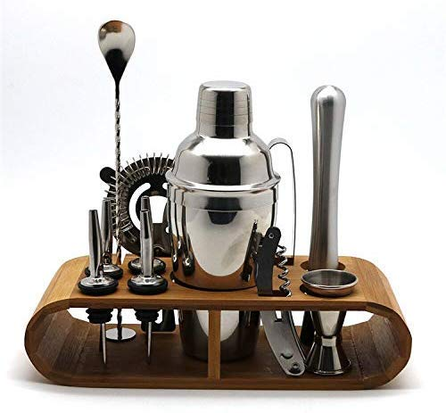 AGWa Cocktail Shaker Set, Edelstahl 11-Stück-Stab-Werkzeug mit Oval Bambusrahmen Basis Cocktail Set - 550ml