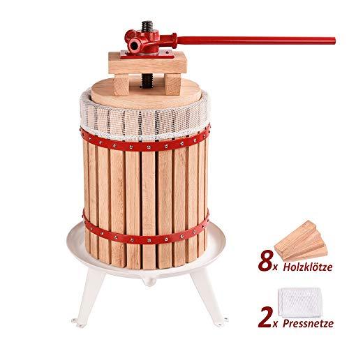 WENHAUS 12L Obstpresse inkl. 8 Stück Holzklötze Und 2 Ersetzbare Pressnetze, Manuelle Maischepresse Fruchtpresse Saftpresse (600003)