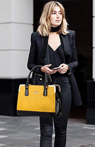 NICOLE&DORIS Damen Handtaschen Umhängetasche Damenhandtaschen Henkeltaschen Schultertaschen Crossbody PU Cremeweiß Gelb