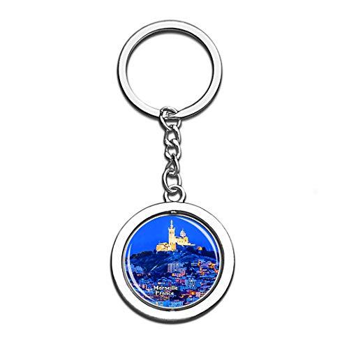 Unserer Lieben Frau von Gard Frankreich 3D Kristall Kreative Schlüsselbund Spinning Runde Edelstahl Schlüsselanhänger Ring Reise Souvenir Sammlung ()