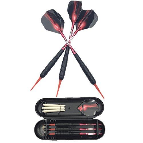 SWAMPLAND 3 Stück Soft Tip Dartpfeile Set für Elektronische Dartscheibe mit Hard Box Case, Aluminium Schaft, Standard PET Flights,19g,Rot