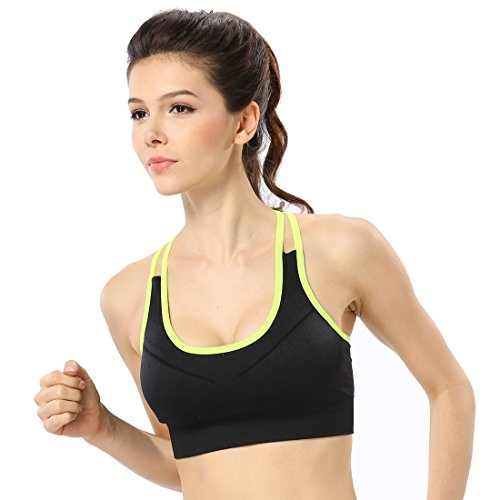 Keysui Femmes Sexy Soutien-gorge Sport Yoga Sans Armature Push up Brassière Lingerie Vert