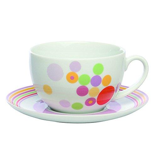Tognana 20.5 x 21 x 12.5 cm 500 CC Festival Porcelaine Tasse de Petit-déjeuner avec Soucoupe