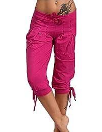 63120812e198 Guiran Femme Pantacourt Ample Pantalons Courts 3 4 Bermudas Genou Longueur