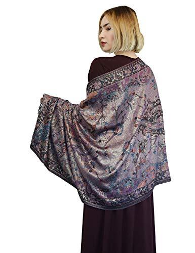 Persisch Blume (SEW ELEGANT Neue Damenfrauen klassischer Paisley Metallische persische Blume Thread Pashmina Scarf Black)