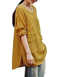 VJGOAL para Mujer de Moda Casual de algodón de Lino Fino sección literaria Floja de Color sólido Blusa de Manga Larga…