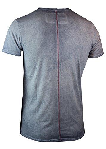 trueprodigy Casual Herren Marken T-Shirt mit Aufdruck, Oberteil cool und stylisch mit V-Ausschnitt (kurzarm & Slim Fit), Shirt für Männer bedruckt Farbe: Blau 1063141-4014 Ombre Blue