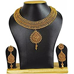 Tatva Gold Brass Necklace Earrings Set For Women