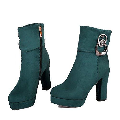 Tacco Colore Alto Voguezone009 Stivali Rotondo Donna Metallo Solido Zip Decorazione Con Di Verde xpRBwqf