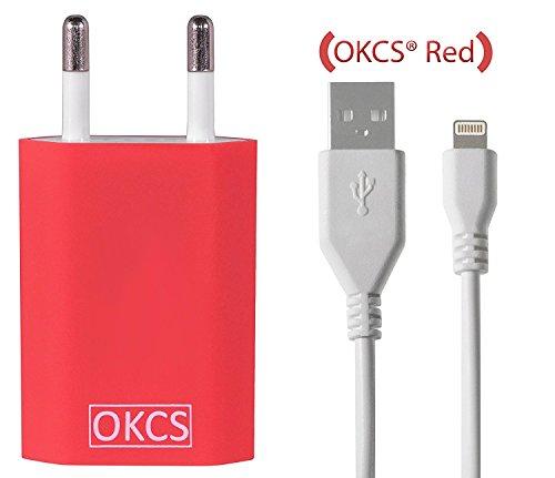 Preisvergleich Produktbild OKCS Red Schnell und Sicher [verbesserte Version] 1 Meter Lightning Ladekabel zu USB Kabel 8 Pin mit Knickschutz für iPhone 5 bis iPhone 7 in Weiß + USB Netzteil Slim Charger - in Rot