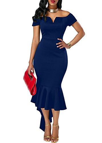 Tragen ärmel (KISSMODA Lady Schwalbenschwanz Rock tragen zu arbeiten Abendkleid mit kurzen Ärmeln Pencil Dress blau XX-Large)