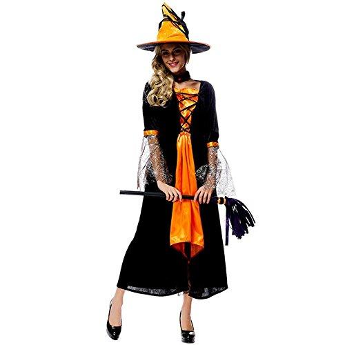 3-teiliges Kostüm-Set für Halloween – Cosplay-Kostüm für Erwachsene, Bar, Party, Performance 3 Zubehör, Kleid, Hut, Halskette für Mädchen/Damen