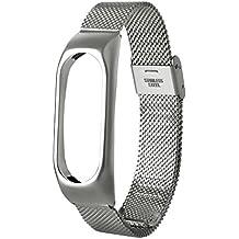 Para Xiaomi MI Banda 2, DoraMe Moda de acero inoxidable ligero correa de reloj (Plata)