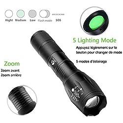 BRAVO ALFRED Lampe Torche LED Ultra puissante. XML-T6 Lampe Torche Militaire utilisable pour vélo ou randonnées et 5 Modes Dont Flash Anti-agression, zooms et portée de 1km. Conception Antichoc