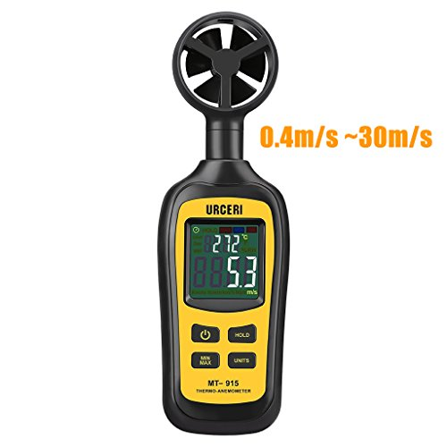 URCERI Anemometer Digital Windmesser 80-5900 ft/min Handheld Windgeschwindigkeitsmesser Thermometer -20°C bis 70°C Windmessgerät mit Min / Max-Daten, Batterieanzeige, Schalter und LCD Bildschirm