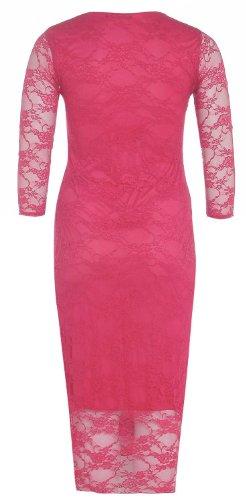 Frauen plus Größe 3/4 Ärmel florale Spitze Kurz lange bodycon Midi-Kleid Coral