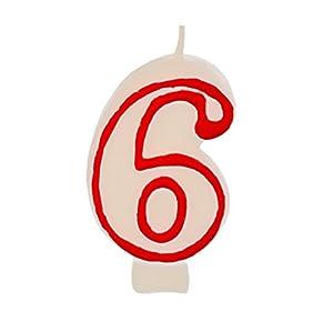 Partygram - Vela de Cumpleaños Número 6 - Blanca con Filo Rojo