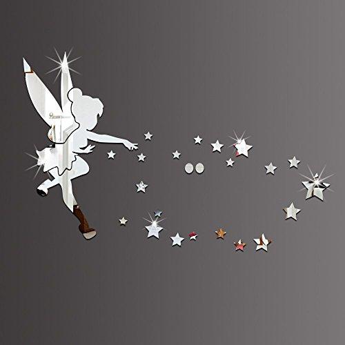 26pcs/set Tinkerbell hadas espejo de pared acrílico espejo pegatinas de pared Tinker Bell decorativo decoración del hogar