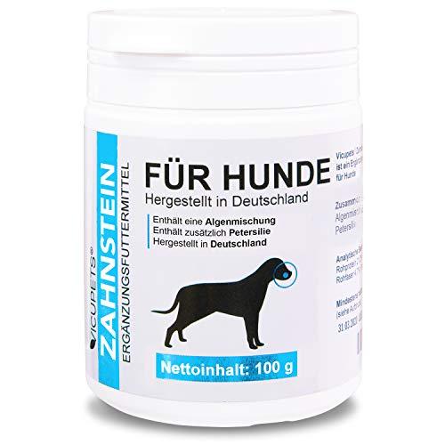 Vicupets® Zahnstein 100g Pulver für Hunde | Natürliche Zahnpflege I Reinigung für Zähne & Zahnfleisch I Ergänzungsfuttermittel -