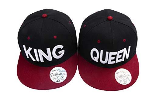 Partner Cap King Queen Snapback Set Liebhaber Paare Kappe Basecap Mütze für für Pärchen 3D Bestickte Paar Valentinstag Geschenke (Schwarz + Weinrot)