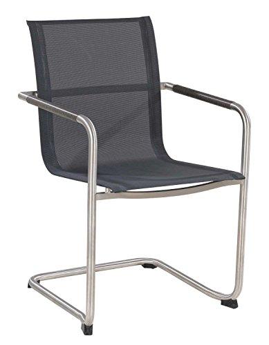 Garten-Stuhl Freischwinger ALINE 2 | Grau Braun | Edelstahl Kunststoffgeflecht