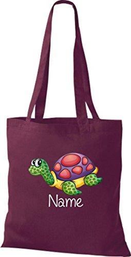 Stoffbeutel mit süßen Motiven inkl. Ihrem Wunschnamen Schildkröte Weinrot