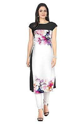 Kiteshop Women's White Crepe Kurti - White Export Quality Fabrics 100 customer satisfaction