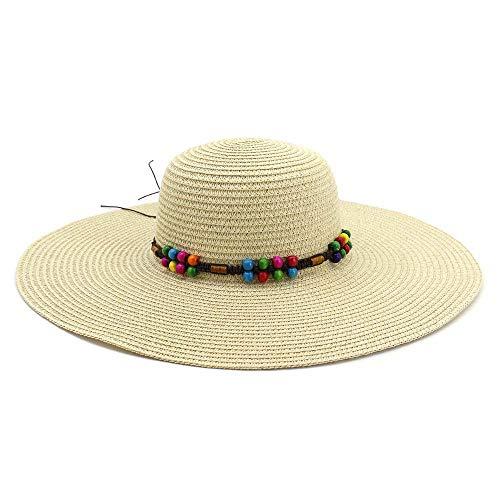 MMD-women's hat La Mode Chapeau de Paille Femelle Chapeau de Soleil de Vacances balnéaires d'été Nouveau Chapeau de Plage Parasol Doux (Couleur : Light Khaki, Taille : 56-58CM)