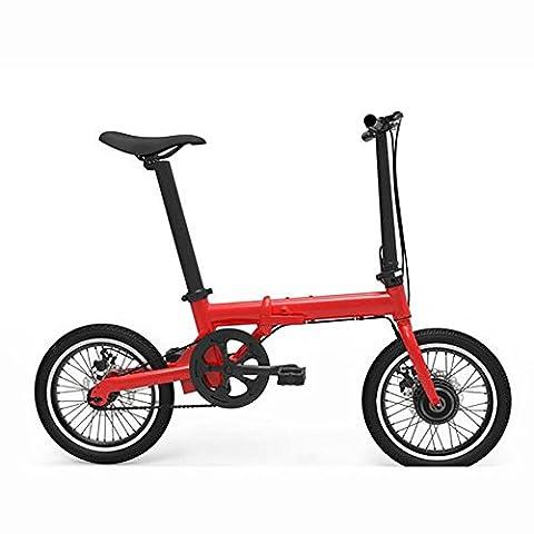 Lei HuanLeBao 16 pouces Voiture électrique pliante Mini autocollant électrique à trois roues au lithium Deux roues rondes au nom du vélo portable , Red