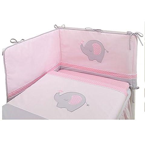 Linge de lit 3 pièces avec tour de lit - Eléphant rose