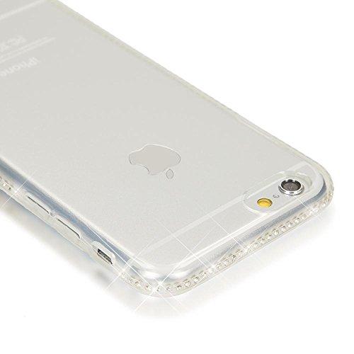 iPhone 6 6S Hülle Handyhülle von NICA, Durchsichtiges Slim Silikon Case mit Transparenter Rückseite & Strass-Bumper, Dünne Schutzhülle Handy-Tasche Back-Cover für Apple iPhone 6S 6 - Grau Transparent
