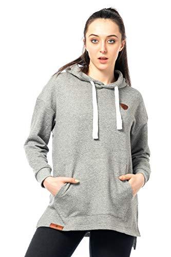 Sweater Damen Pullover Warmer Pulli kuschlig Sweat-Shirt Hoody Kapuzenpulli Streetwear 515 (Grau, M)