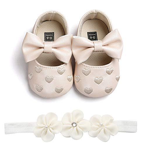 Patifia Baby Mädchen Lauflernschuhe+1PC Stirnband, Kleinkind Bow Schuh Anti-Rutsch-Weiche Besondere Anlässe Taufe Hochzeit Party Schuhe 0-18 Monate (Besonderen Anlass Jungen)