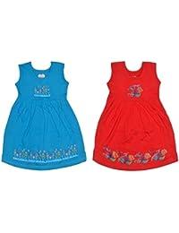 Sathiyas Akash Girls 100% Hoisery Cotton Floral Printed Dresses - (RNB) (2-3 Years)