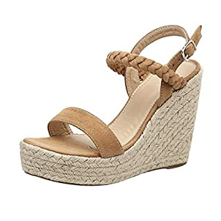 ✦HappyQn✦ Women's Fashion Wedge Sandals,Women Sexy Wedge Sandals Pumps Platform High Heels Woven Hemp Loop Shoes Brown