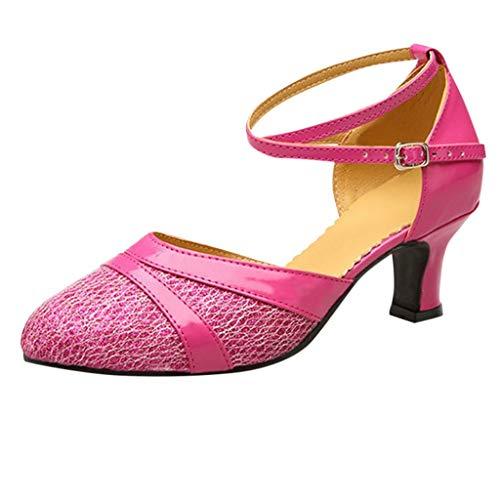 Deloito Damen Mode Elegant Ballsaal Tango Latein Salsa Tanzschuhe Party Hochzeit Sozial Pailletten Schuhe Weicher Boden Spitze Absätze Tanzschuh (Pink,35 EU)