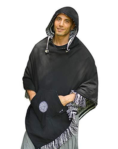 virblatt – Herren Poncho Hippie Kleidung Hippie Jacke Hippie Poncho Alternative Kleidung – Abajo